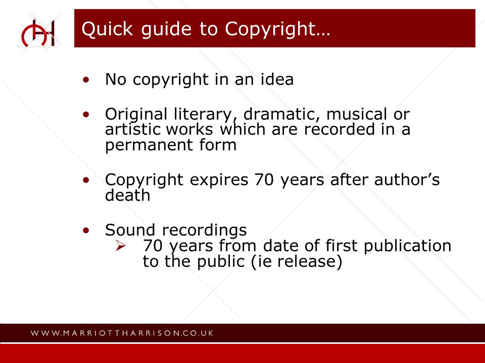 Writer Director Writer of original dialogue Composer of music written for the film Copyright in a film or other audio visual expires 70 years after the death of the last of the authors Quick guide to Copyright… (2)