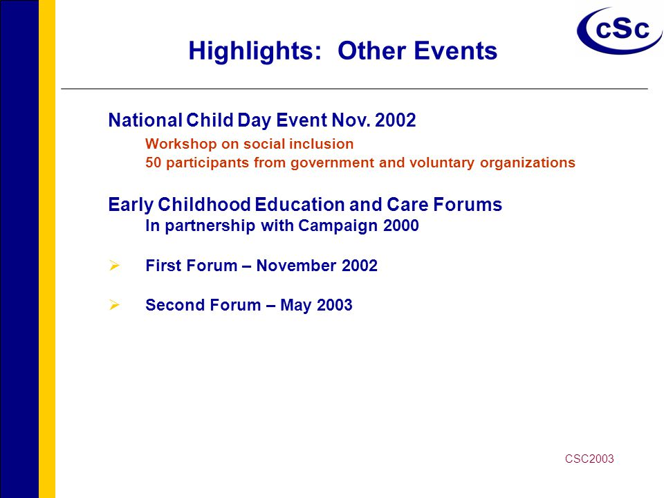 Highlights: Other Events National Child Day Event Nov.