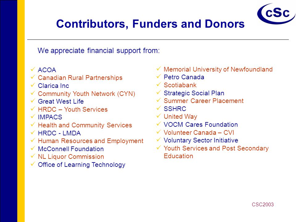 Contributors, Funders and Donors ACOA Canadian Rural Partnerships Clarica Inc Community Youth Network (CYN) Great West Life HRDC – Youth Services IMPACS Health and Community Services HRDC - LMDA Human Resources and Employment McConnell Foundation NL Liquor Commission Office of Learning Technology Memorial University of Newfoundland Petro Canada Scotiabank Strategic Social Plan Summer Career Placement SSHRC United Way VOCM Cares Foundation Volunteer Canada – CVI Voluntary Sector Initiative Youth Services and Post Secondary Education We appreciate financial support from: CSC2003
