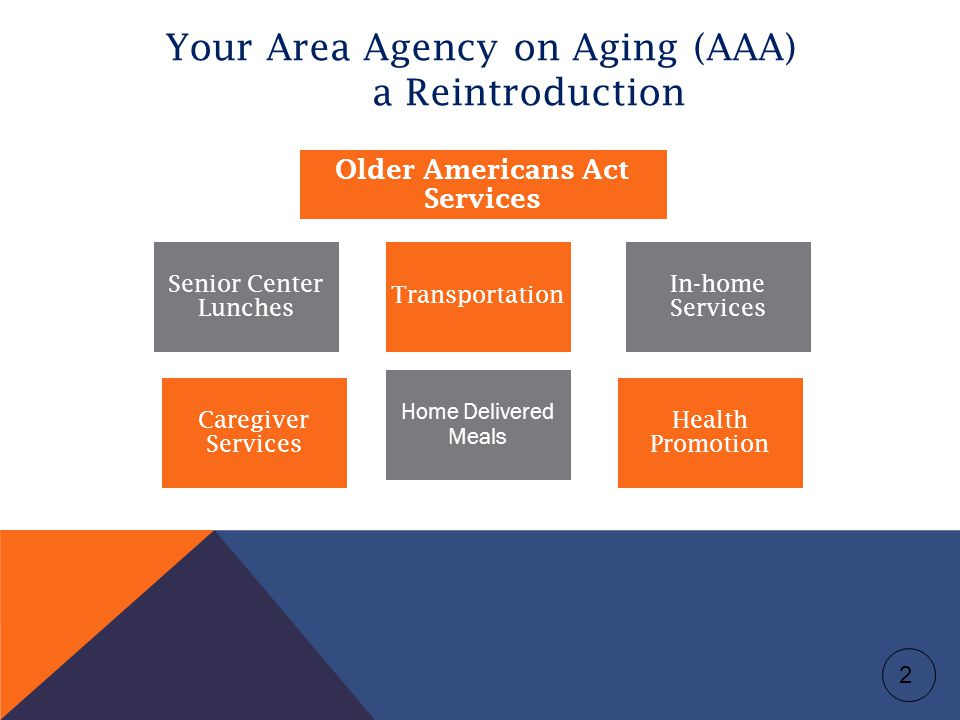 Your Area Agency on Aging (AAA) a Reintroduction Senior Center Lunches Older Americans Act Services In-home Services Caregiver Services Transportation Health Promotion Home Delivered Meals 2