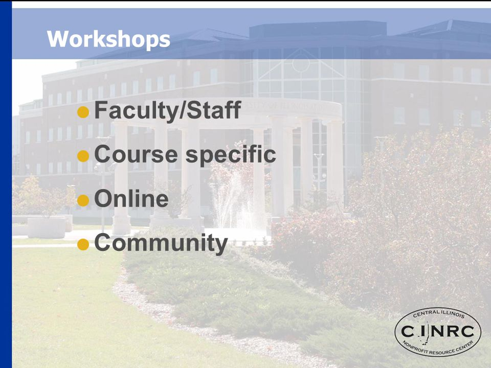 Workshops  Faculty/Staff  Course specific  Online  Community