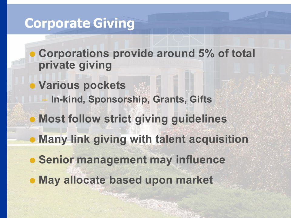 Corporate Giving  Corporations provide around 5% of total private giving  Various pockets –In-kind, Sponsorship, Grants, Gifts  Most follow strict giving guidelines  Many link giving with talent acquisition  Senior management may influence  May allocate based upon market