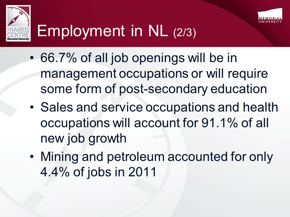 Employment in NL (2/3) 66.7% of all job openings will be in management occupations or will require some form of post-secondary education Sales and service occupations and health occupations will account for 91.1% of all new job growth Mining and petroleum accounted for only 4.4% of jobs in 2011