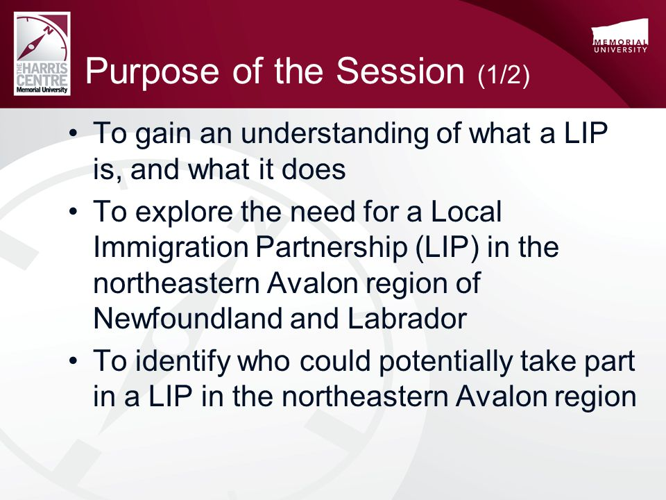 Purpose of the Session (1/2) To gain an understanding of what a LIP is, and what it does To explore the need for a Local Immigration Partnership (LIP) in the northeastern Avalon region of Newfoundland and Labrador To identify who could potentially take part in a LIP in the northeastern Avalon region