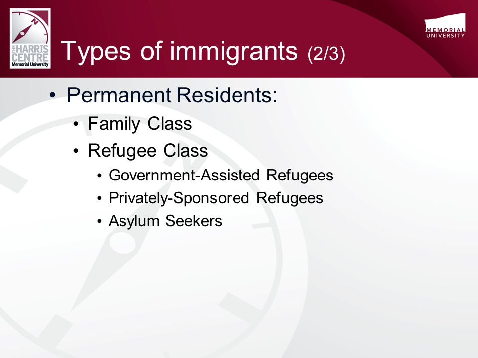 Types of immigrants (2/3) Permanent Residents: Family Class Refugee Class Government-Assisted Refugees Privately-Sponsored Refugees Asylum Seekers