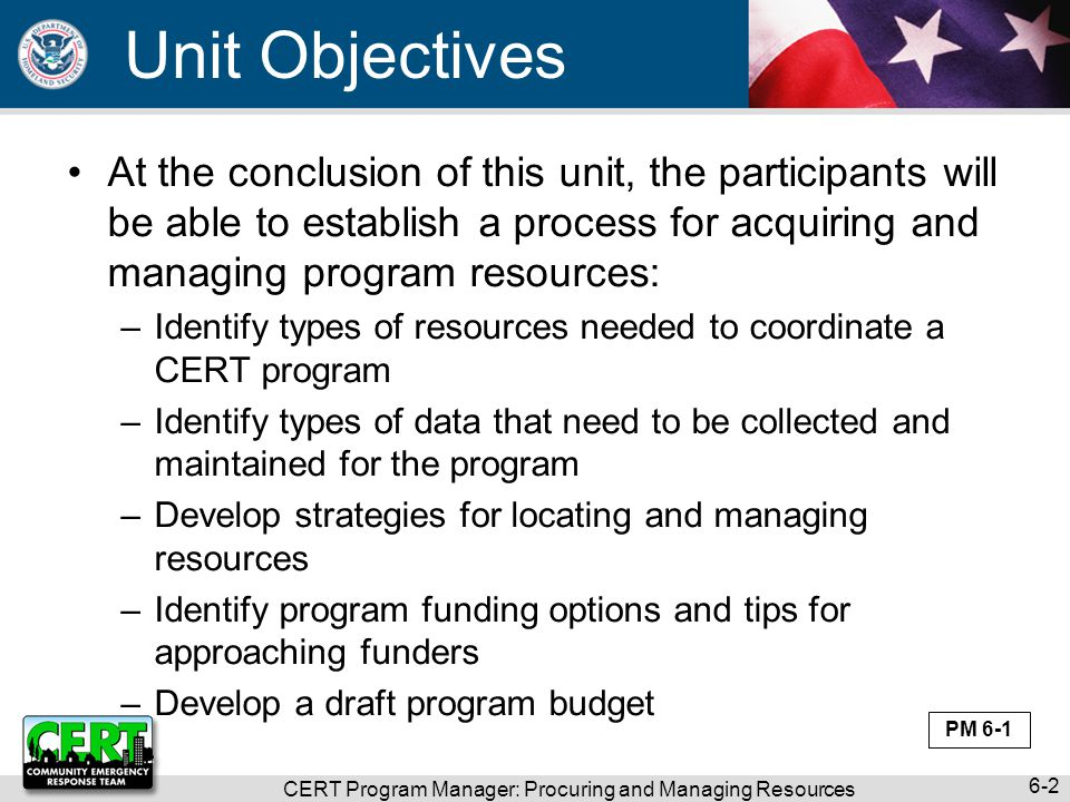 CERT Program Manager: Procuring and Managing Resources 6-2 Unit Objectives At the conclusion of this unit, the participants will be able to establish