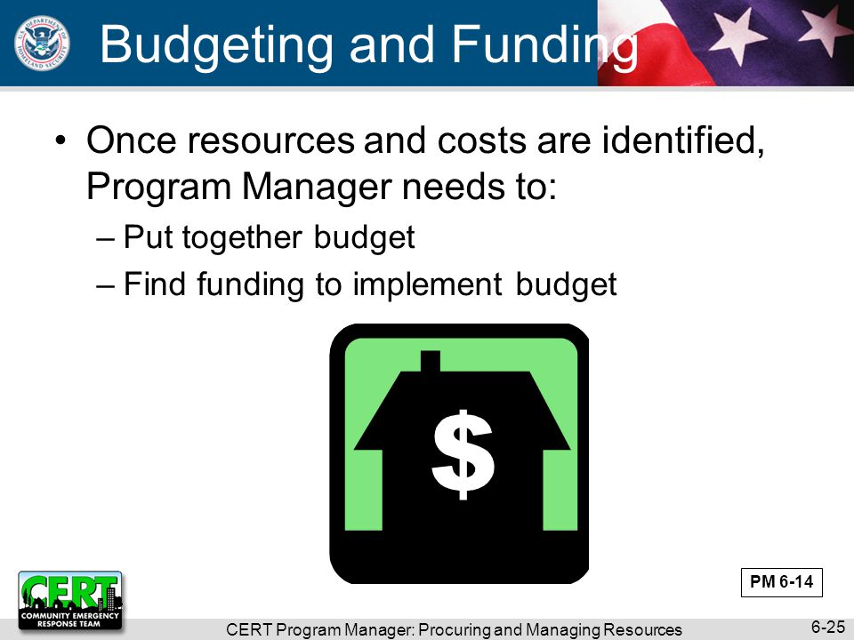 CERT Program Manager: Procuring and Managing Resources 6-25 Budgeting and Funding Once resources and costs are identified, Program Manager needs to: –Put together budget –Find funding to implement budget PM 6-14
