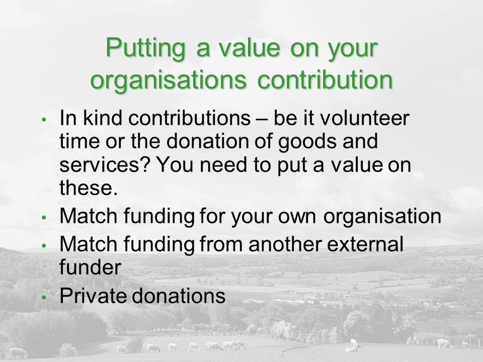 Putting a value on your organisations contribution In kind contributions – be it volunteer time or the donation of goods and services.