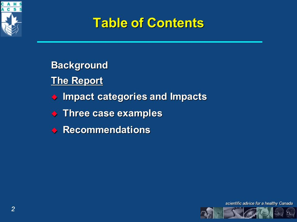 Table of Contents Background The Report  Impact categories and Impacts  Three case examples  Recommendations 2