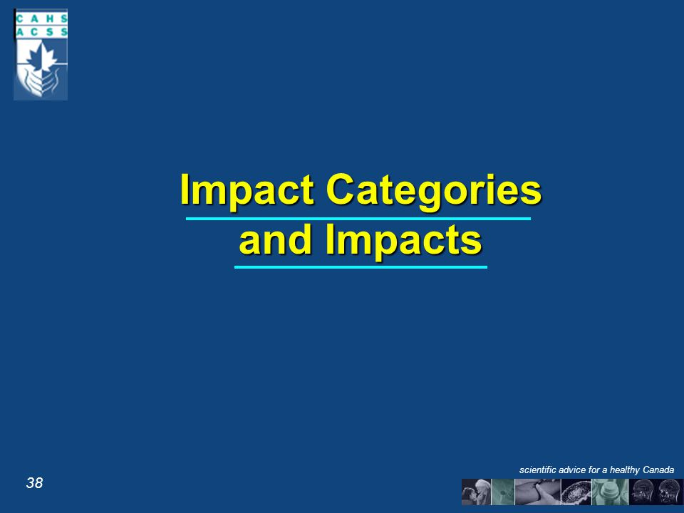 Impact Categories and Impacts 38 scientific advice for a healthy Canada