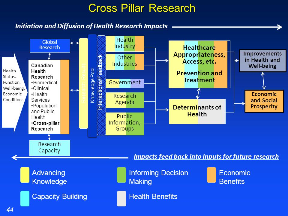 Cross Pillar Research Economic and Social Prosperity Determinants of Health Public Information, Groups Knowledge Pool Improvements in Health and Well-being Healthcare Appropriateness, Access, etc.