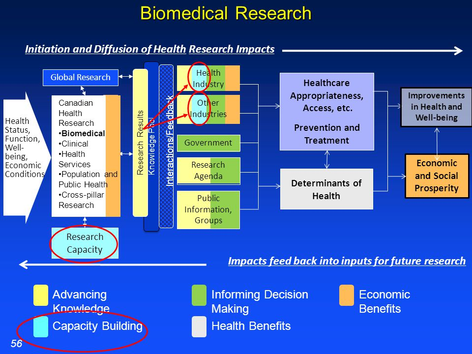 Biomedical Research Health Industry Economic and Social Prosperity Determinants of Health Public Information, Groups Knowledge Pool Improvements in Health and Well-being Healthcare Appropriateness, Access, etc.