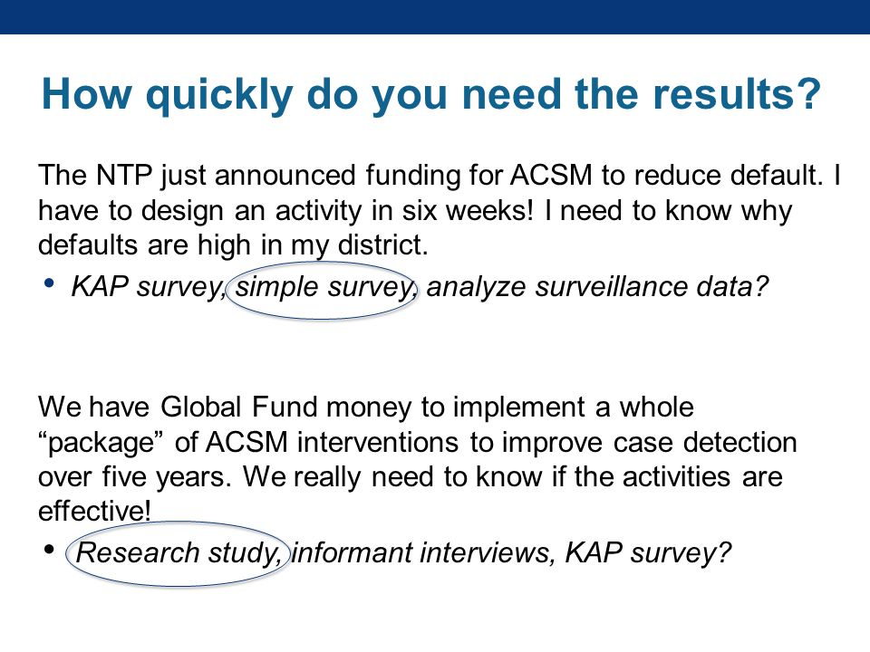 How quickly do you need the results. The NTP just announced funding for ACSM to reduce default.