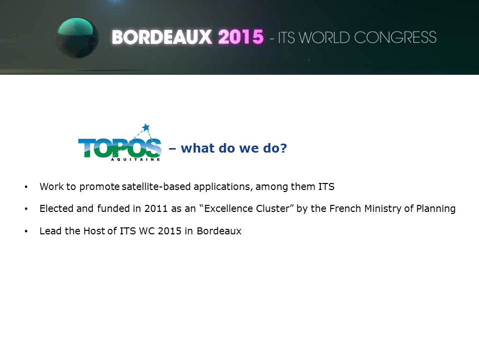 ITS World Congress – what do we do.