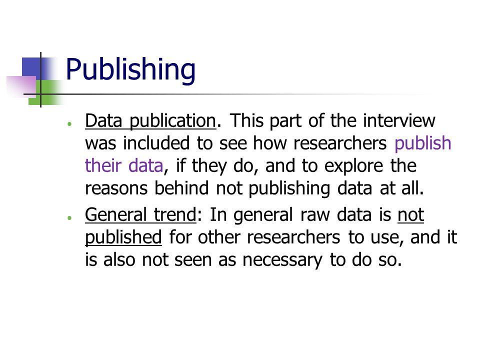 Publishing  Data publication.