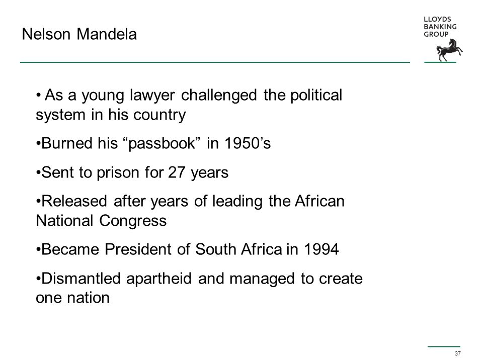 "37 Nelson Mandela As a young lawyer challenged the political system in his country Burned his ""passbook"" in 1950's Sent to prison for 27 years Release"