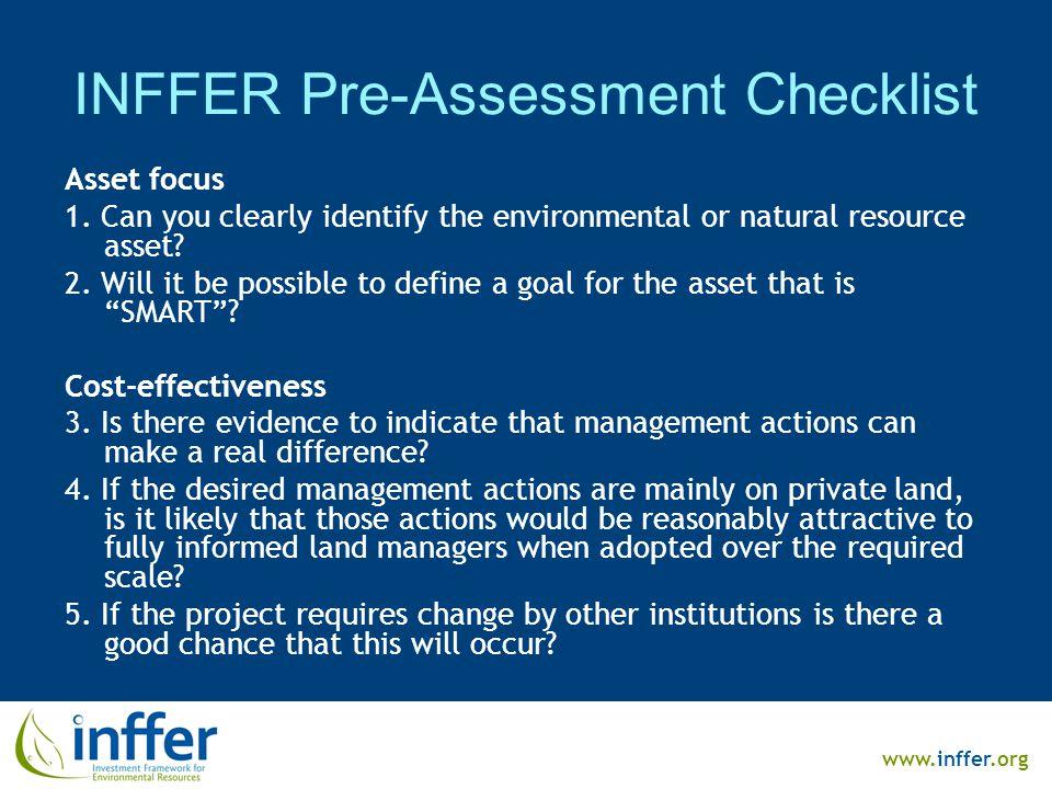 www.inffer.org INFFER Pre-Assessment Checklist Asset focus 1.