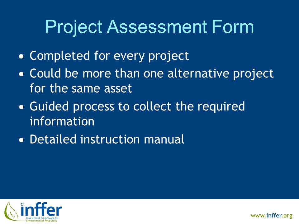 www.inffer.org Project Assessment Form  Completed for every project  Could be more than one alternative project for the same asset  Guided process to collect the required information  Detailed instruction manual