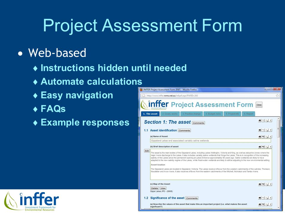 www.inffer.org Project Assessment Form  Web-based  Instructions hidden until needed  Automate calculations  Easy navigation  FAQs  Example responses