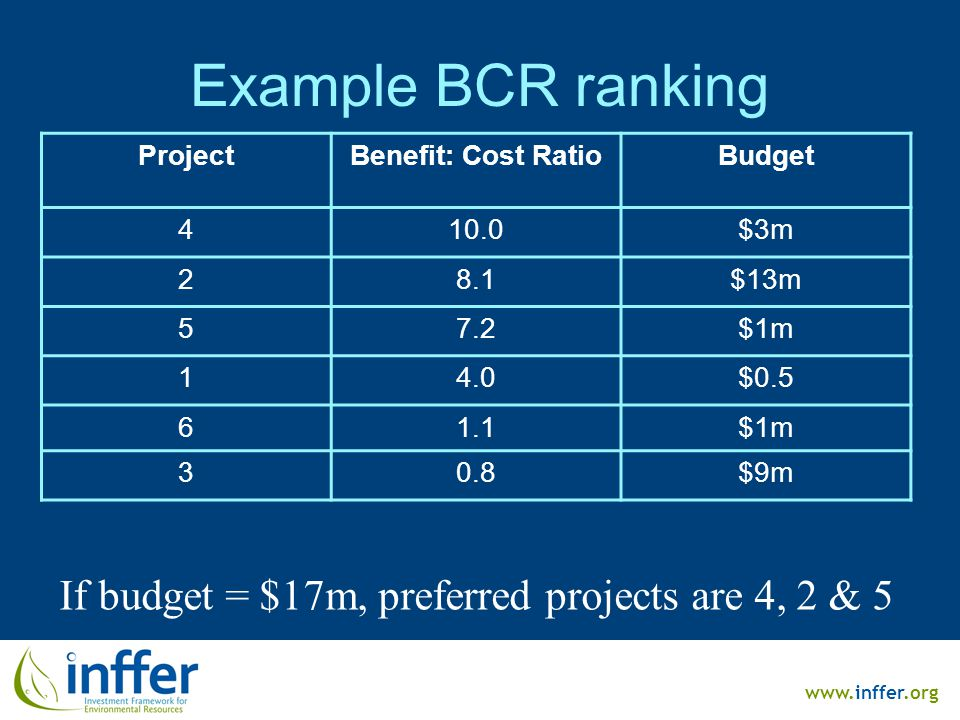 www.inffer.org Example BCR ranking ProjectBenefit: Cost RatioBudget 410.0$3m 28.1$13m 57.2$1m 14.0$0.5 61.1$1m 30.8$9m If budget = $17m, preferred pro