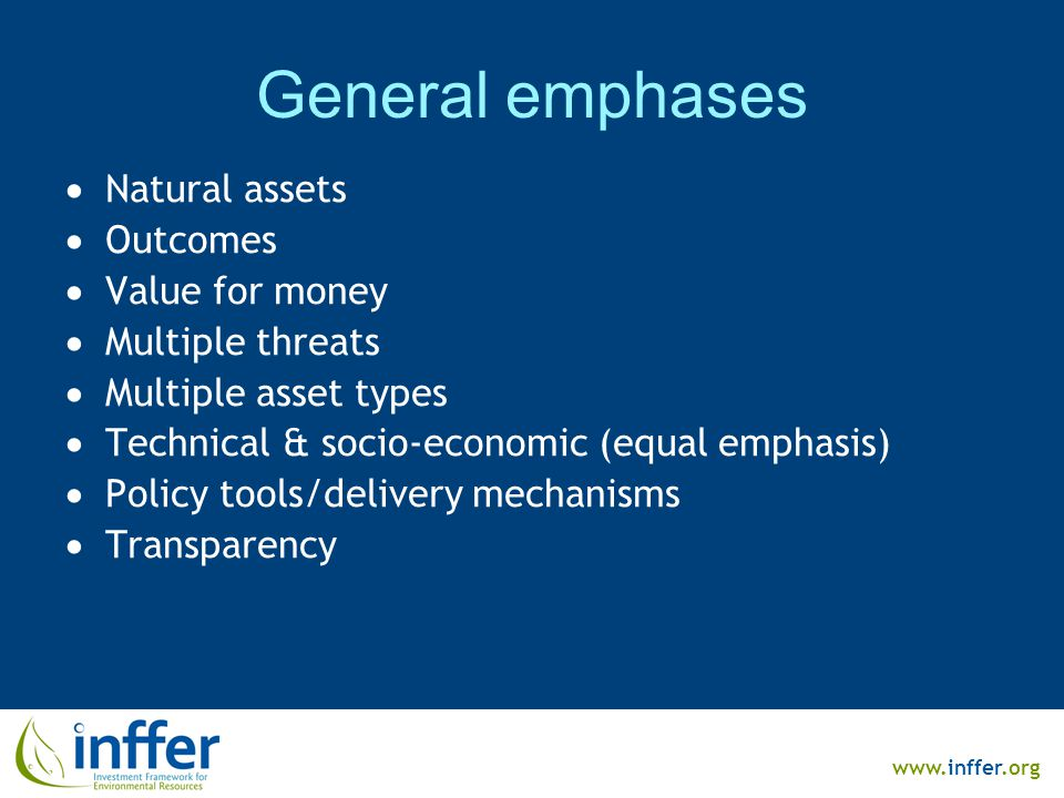 www.inffer.org General emphases  Natural assets  Outcomes  Value for money  Multiple threats  Multiple asset types  Technical & socio-economic (equal emphasis)  Policy tools/delivery mechanisms  Transparency