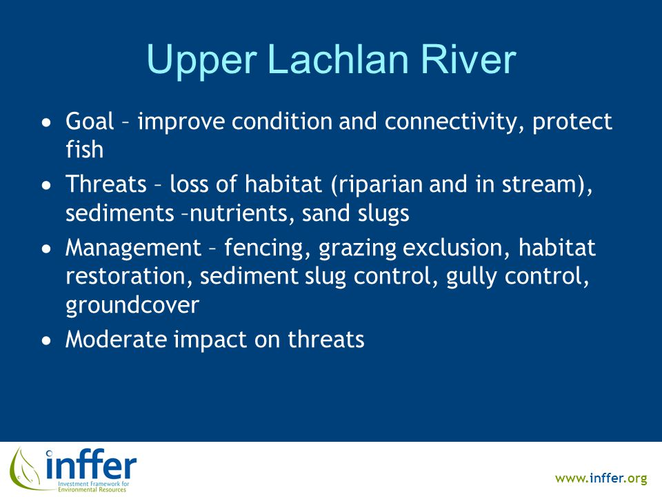 www.inffer.org Upper Lachlan River  Goal – improve condition and connectivity, protect fish  Threats – loss of habitat (riparian and in stream), sediments –nutrients, sand slugs  Management – fencing, grazing exclusion, habitat restoration, sediment slug control, gully control, groundcover  Moderate impact on threats
