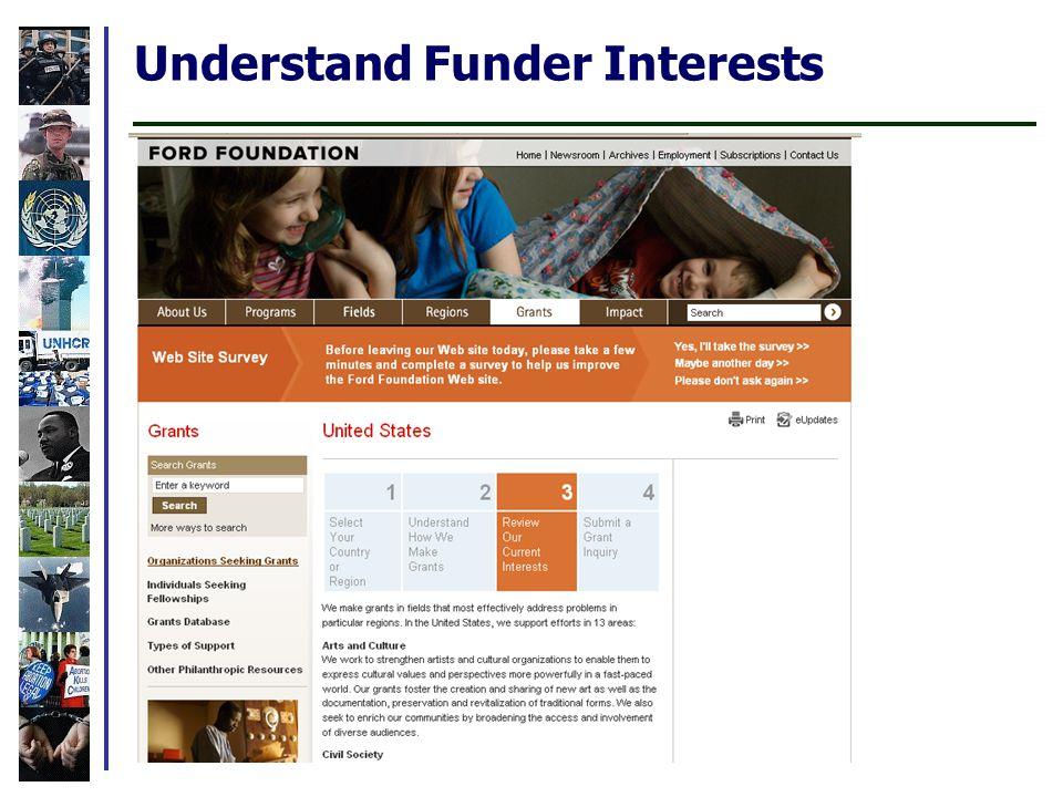 Understand Funder Interests