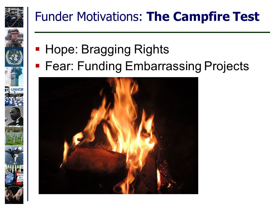 Funder Motivations: The Campfire Test  Hope: Bragging Rights  Fear: Funding Embarrassing Projects