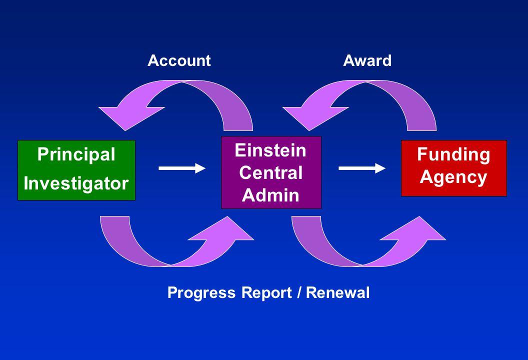Principal Investigator Funding Agency Einstein Central Admin AwardAccount Progress Report / Renewal