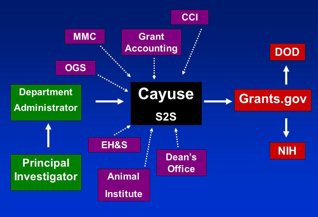 Department Administrator NIH Cayuse S2S Principal Investigator EH&S CCI Grant Accounting Animal Institute OGS MMC Dean's Office DOD Grants.gov