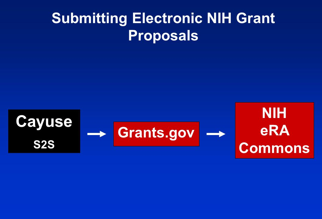 Submitting Electronic NIH Grant Proposals NIH eRA Commons Grants.gov Cayuse S2S