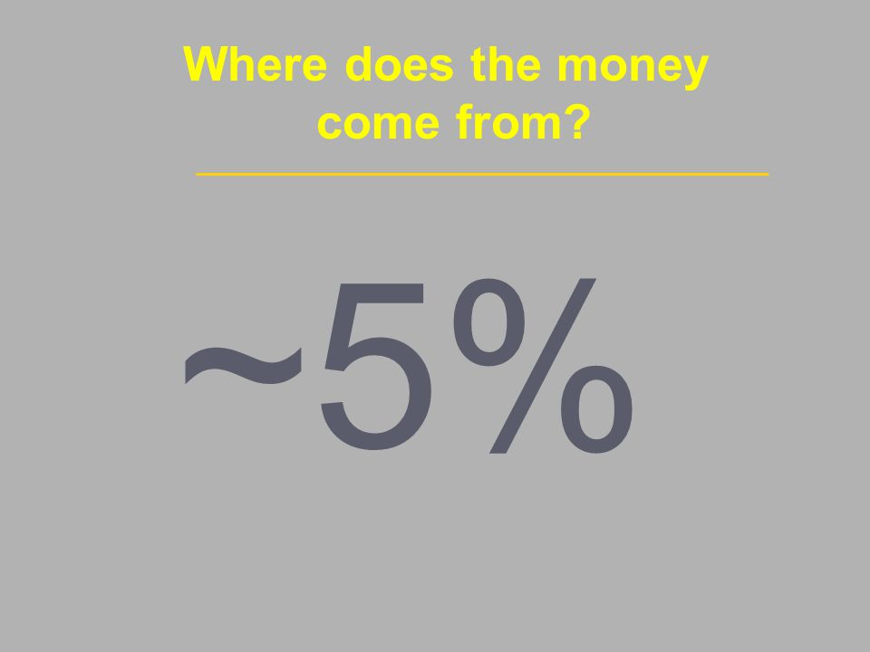 Where does the money come from ~5%