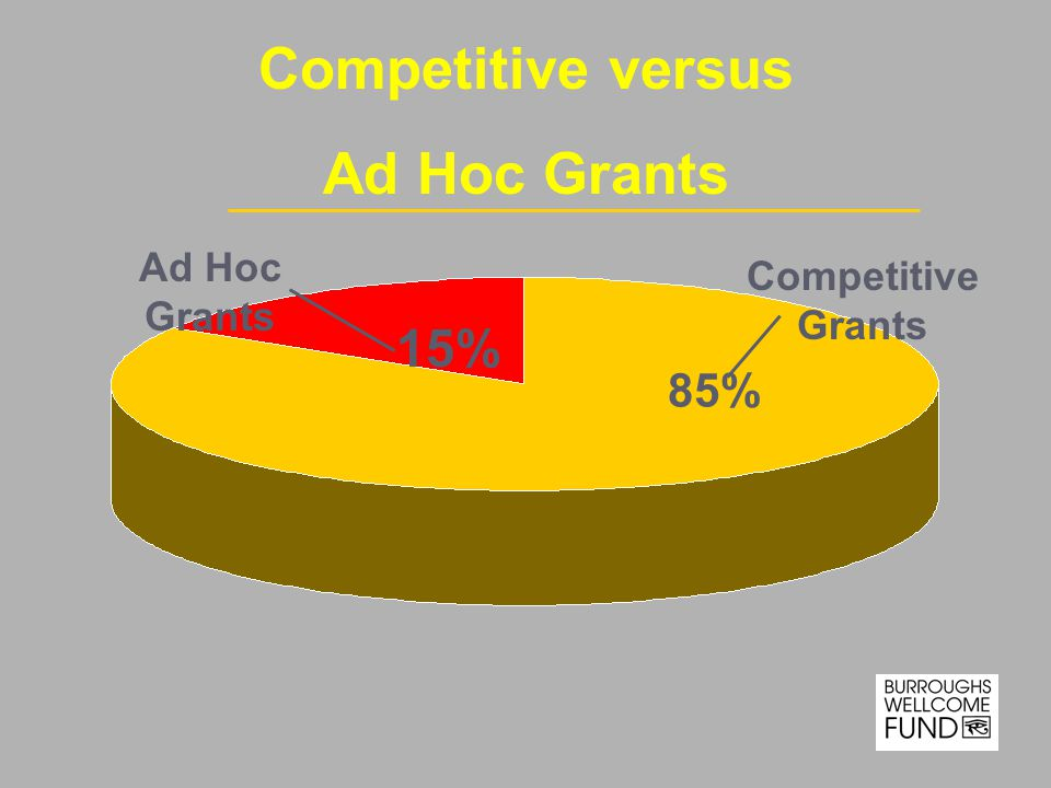 Ad Hoc Grants Competitive Grants 85% 15% Competitive versus Ad Hoc Grants