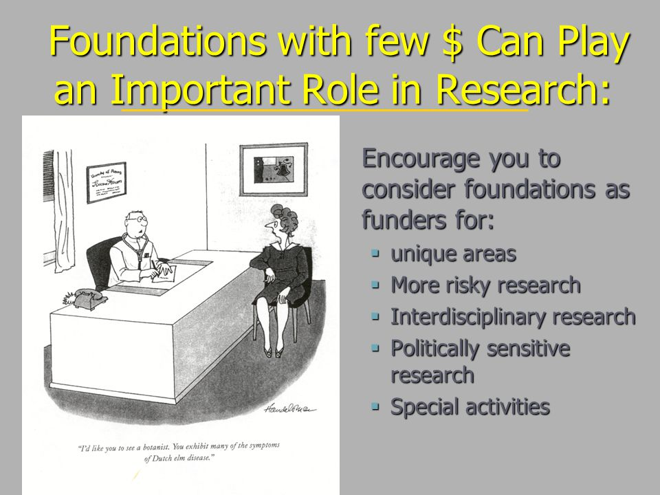 Foundations with few $ Can Play an Important Role in Research: Foundations with few $ Can Play an Important Role in Research: Encourage you to consider foundations as funders for:  unique areas  More risky research  Interdisciplinary research  Politically sensitive research  Special activities