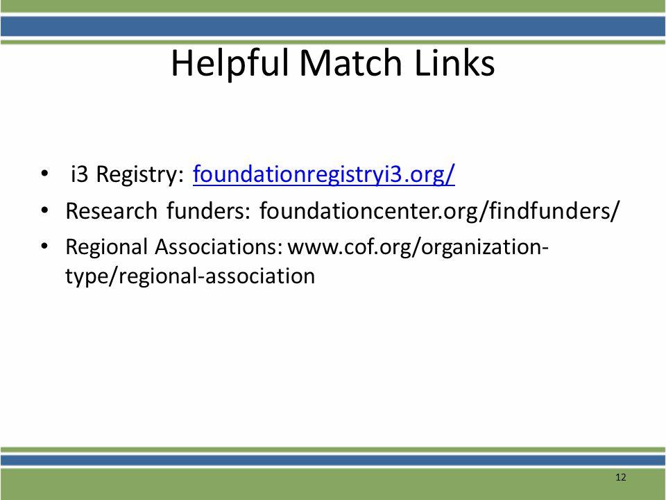 Helpful Match Links i3 Registry: foundationregistryi3.org/foundationregistryi3.org/ Research funders: foundationcenter.org/findfunders/ Regional Assoc