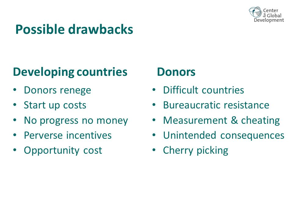 Donors renege Start up costs No progress no money Perverse incentives Opportunity cost Possible drawbacks Developing countries Difficult countries Bureaucratic resistance Measurement & cheating Unintended consequences Cherry picking Donors