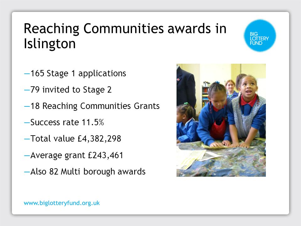 Reaching Communities projects in Islington examples ─ Project to assist adults with learning difficulties to manage their own health by providing health advocacy, training, support and one to one health facilitators ─ Project to improve the health and wellbeing of vulnerable older people including those with dementia by providing support to help them to address their own problems ─ Project to reduce social isolation and improve life skills of people with mental health problems to enable them to become more active and included in their community ─ Project to improve life chances for disabled people by providing information service, drop-in advice sessions, case work and home visits ─