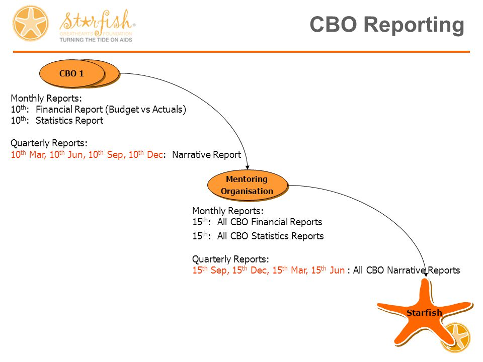 CBO Reporting Starfish Mentoring Organisation Mentoring Organisation CBO 2 CBO 1 Monthly Reports: 10 th : Financial Report (Budget vs Actuals) 10 th : Statistics Report Quarterly Reports: 10 th Mar, 10 th Jun, 10 th Sep, 10 th Dec: Narrative Report Monthly Reports: 15 th : All CBO Financial Reports 15 th : All CBO Statistics Reports Quarterly Reports: 15 th Sep, 15 th Dec, 15 th Mar, 15 th Jun : All CBO Narrative Reports
