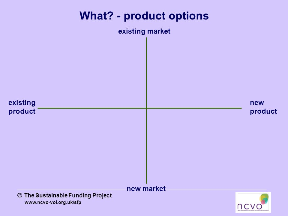 www.ncvo-vol.org.uk/sfp © The Sustainable Funding Project existing product new product existing market new market What.