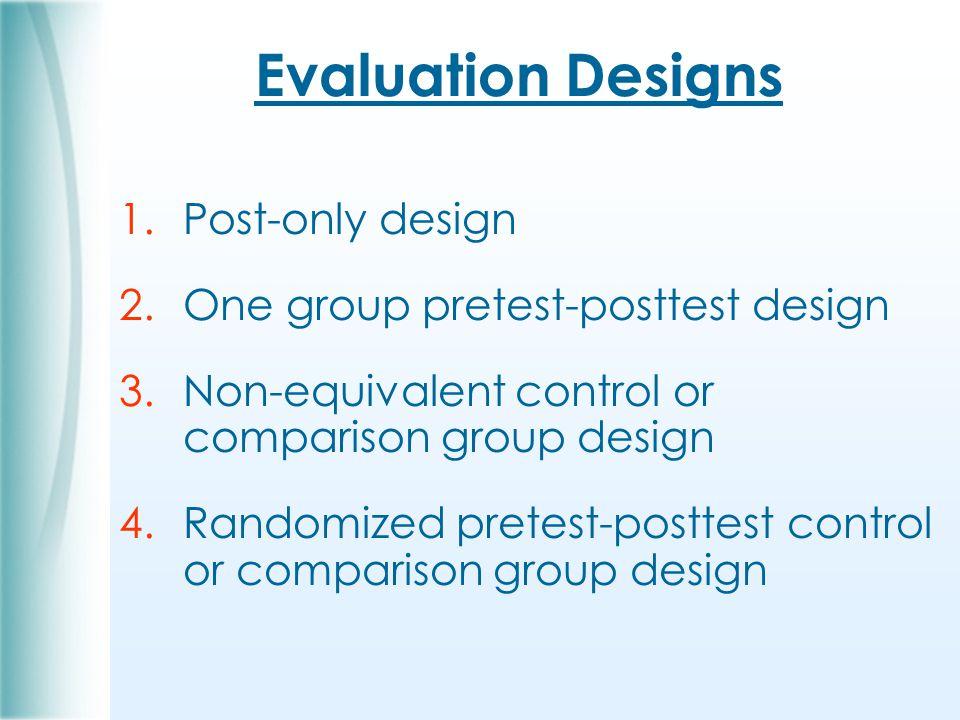 Evaluation Designs 1.Post-only design 2.One group pretest-posttest design 3.Non-equivalent control or comparison group design 4.Randomized pretest-posttest control or comparison group design