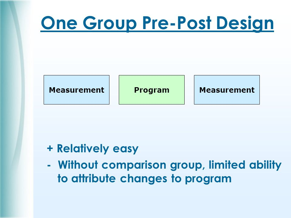 One Group Pre-Post Design + Relatively easy - Without comparison group, limited ability to attribute changes to program ProgramMeasurement