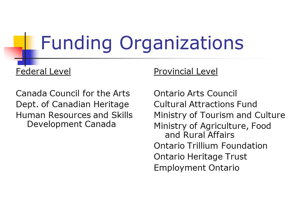 Funding Organizations Federal Level Canada Council for the Arts Dept.