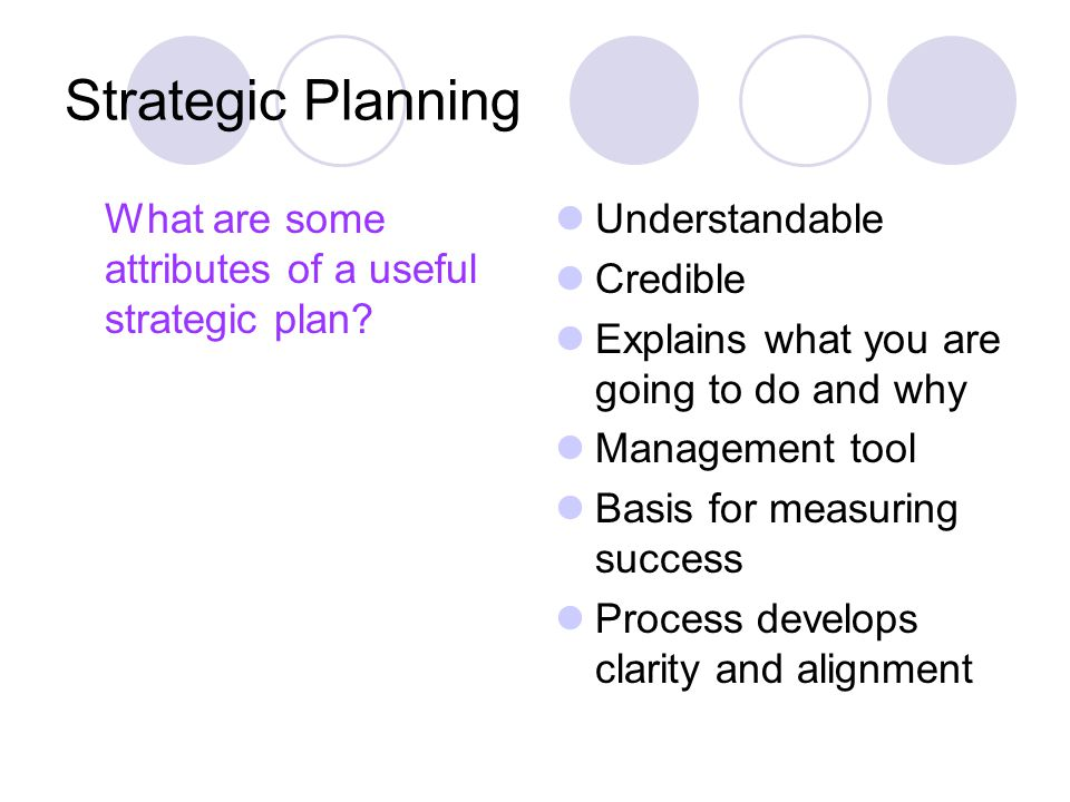 Strategic Planning What are some attributes of a useful strategic plan.