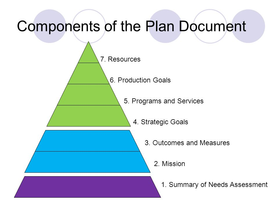Components of the Plan Document 6. Production Goals 7.