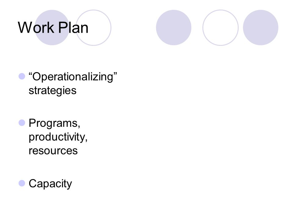 Work Plan Operationalizing strategies Programs, productivity, resources Capacity