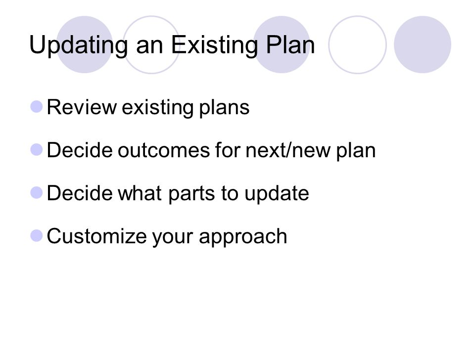 Updating an Existing Plan Review existing plans Decide outcomes for next/new plan Decide what parts to update Customize your approach