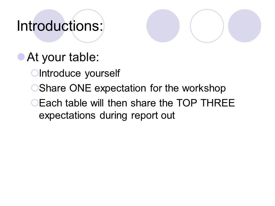 Introductions: At your table:  Introduce yourself  Share ONE expectation for the workshop  Each table will then share the TOP THREE expectations during report out