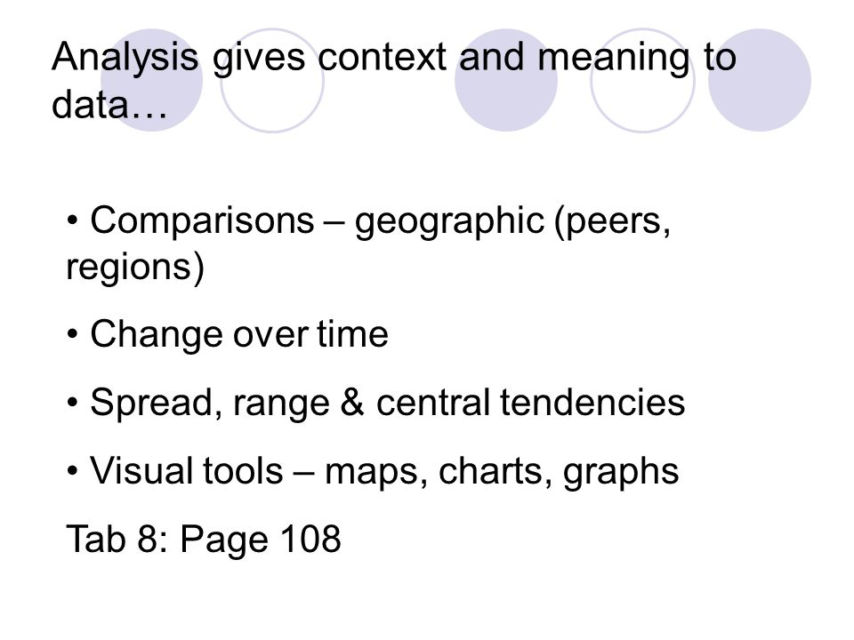 Analysis gives context and meaning to data… Comparisons – geographic (peers, regions) Change over time Spread, range & central tendencies Visual tools – maps, charts, graphs Tab 8: Page 108