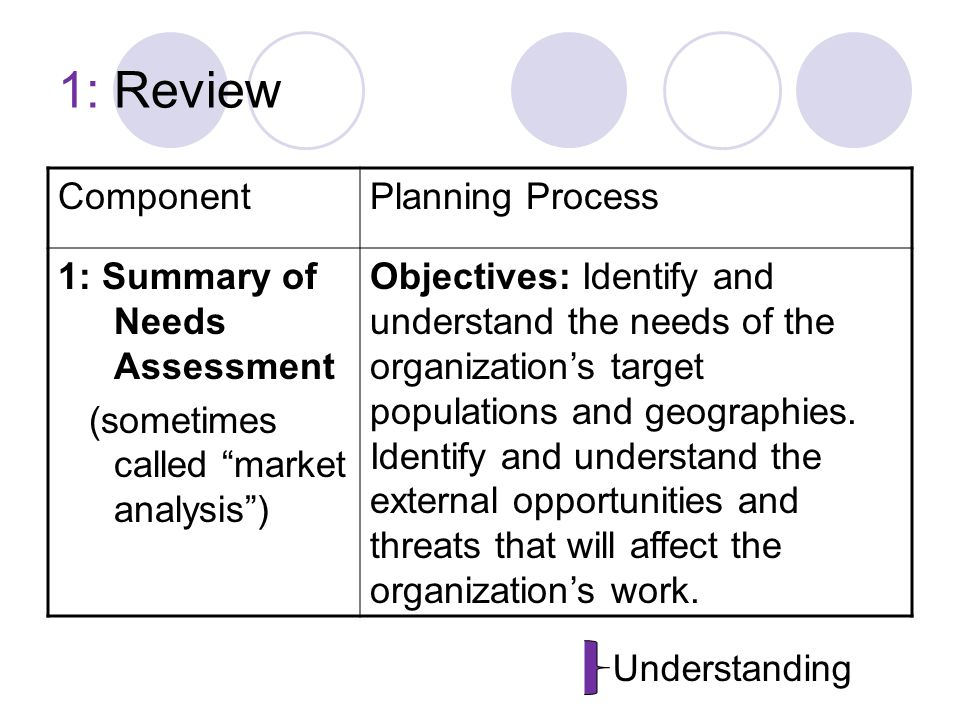 1: Review ComponentPlanning Process 1: Summary of Needs Assessment (sometimes called market analysis ) Objectives: Identify and understand the needs of the organization's target populations and geographies.
