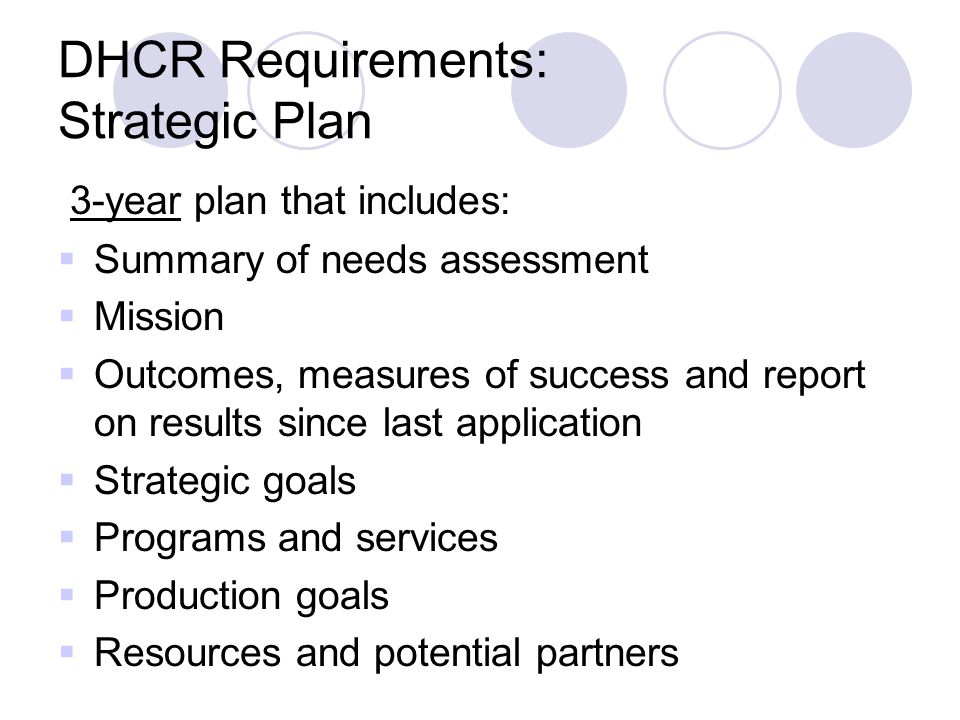 DHCR Requirements: Strategic Plan 3-year plan that includes:  Summary of needs assessment  Mission  Outcomes, measures of success and report on results since last application  Strategic goals  Programs and services  Production goals  Resources and potential partners